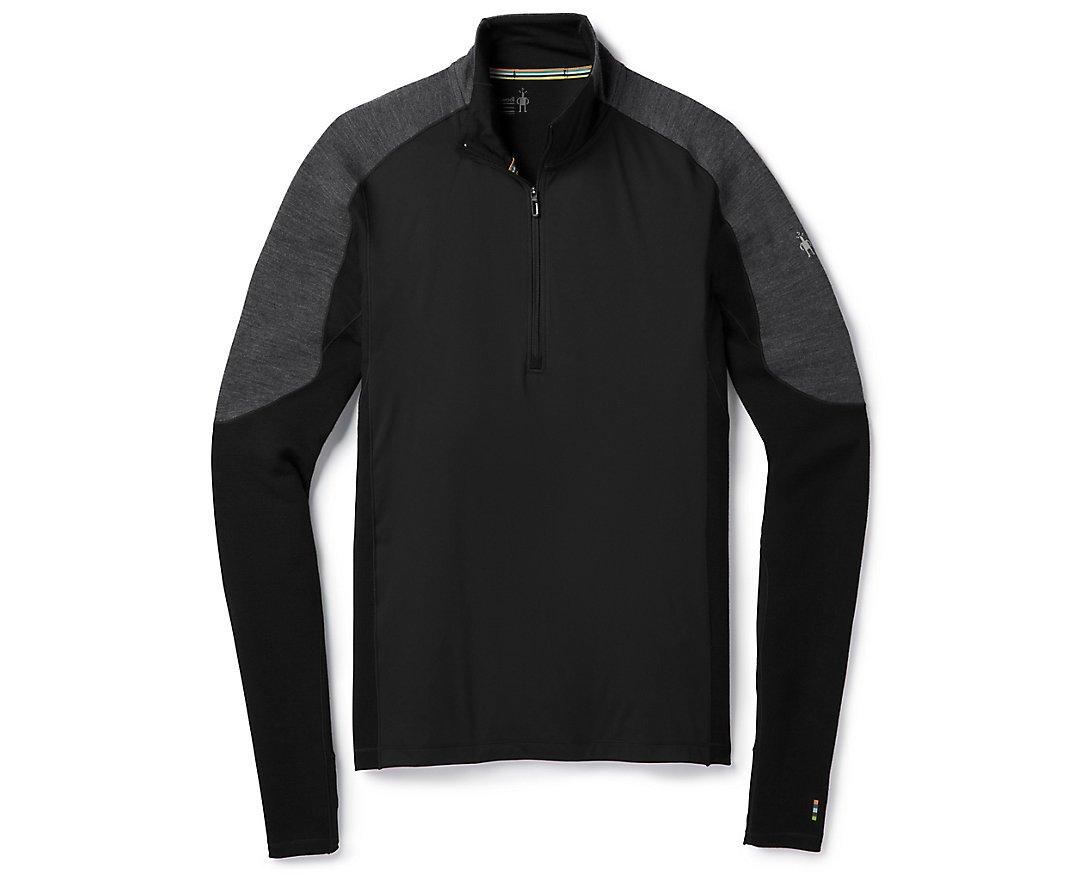 SmartWool Men's PhD Light Wind 1/2 Zip Shirt (Black) Medium