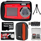 Polaroid iE090 Dual Screen Shock & Waterproof Digital Camera (Red) with 16GB Card + Case + Tripod + Reader + Kit