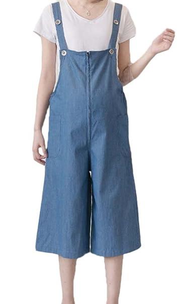 Keephen 2018 Pantalones Siameses de Mujer Embarazada Pantalones Vaqueros de elevación Suelta de la Moda