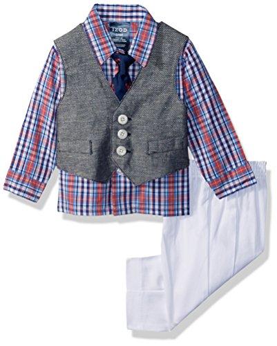 IZOD Baby Boys Four Piece Formal Vest Set, Lobster Plaid, 0-3 Months