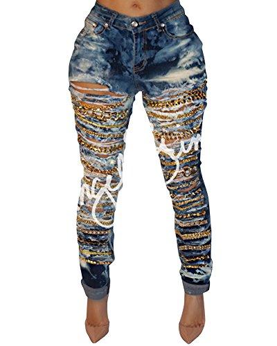 Stretch Pantalons Pants Bleu Dchirs Jeans Jeans Femme Skinny Slim Slim Vintage Denim Crayon 4xwRnzgqpc