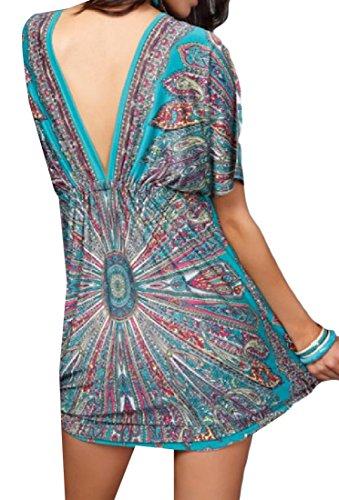 Sleeve Coolred Tunic High Women's Dress Green Waist Short Oversized Boho YwCrY4x0pq
