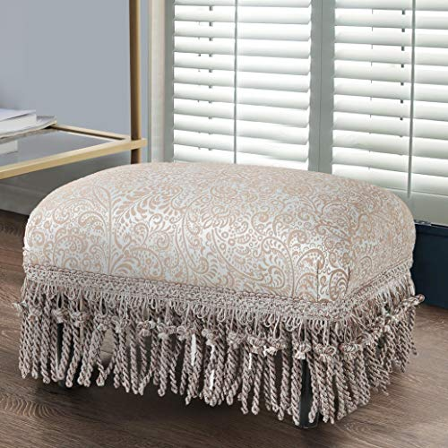 Fiona Traditional Decorative Footstool Silver Tan Modern Contemporary Transitional Pattern Solid Rectangle Fabric Upholstered Skirted (Stool Skirted)