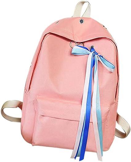 Kids Teens School Bag Backpack Shoulder Rucksack Canvas Travel Bag Padded Plain