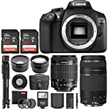 Canon EOS Rebel T6 18MP DSLR Camera w/18-55mm STM + 75-300mm + 58mm Wide Angle Lens + 2X Telephoto Lens + Flash + 128GB SD Memory Card + UV Filter Kit + Tripod + Full Accessory Bundle