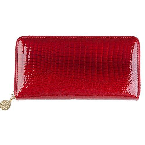 Langii Crocdile Grain Cowhide Leather Wallet Women Long Clutch Bag Zipper Style