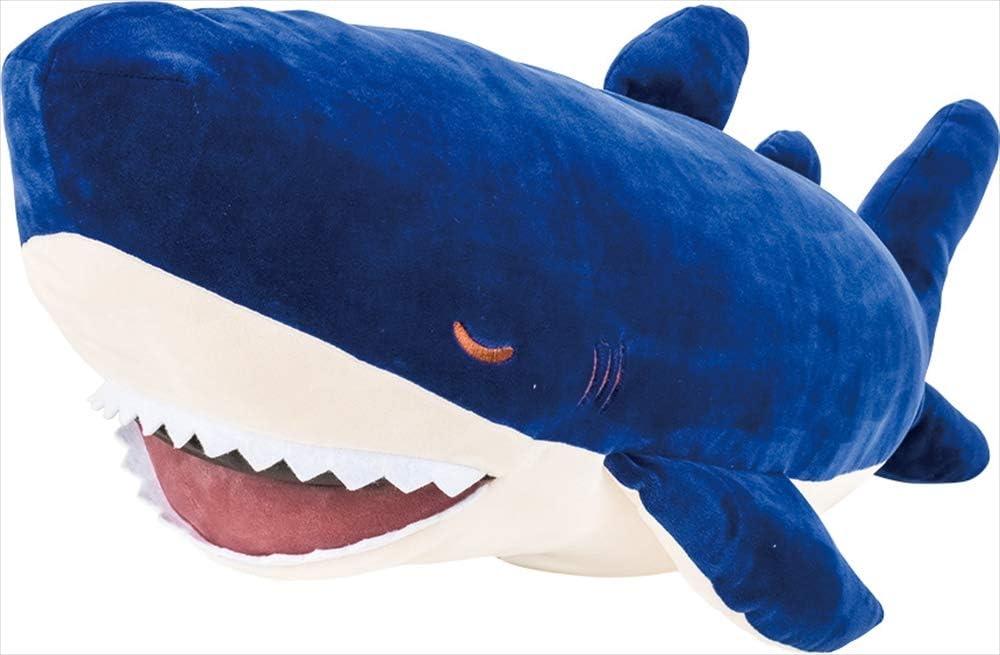 "Livheart Premium Nemu Nemu Sleepy Head Animals Body Pillow Plush Navy Shark (zap) Size L (29.5""x13.8""xH6.7) Japan Import 68840-63 Huggable Super Soft Stuffed Toy"