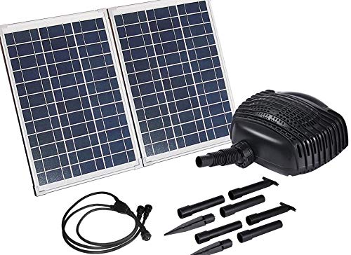 AQUAPLANCTON MNP SP50 50W Twin Panel Solar Powered Fish Pond Pump Kit with Two Panels Max 898 GPH Pump Alone Weighs Over Five Pounds and 16 feet of Hose (Solar Pond Waterfall Pump)