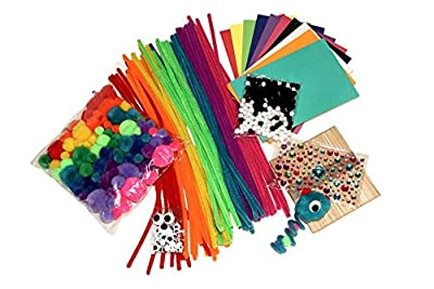 Fun Craft Kit - Kaleidoscope Assortment of Rainbow Pompoms, Pipe Cleaners, Sticky Googly Eyes, Foam Pages, Craft Sticks, Glittery Gem Stickers - Comes in FREE Plastic Envelope