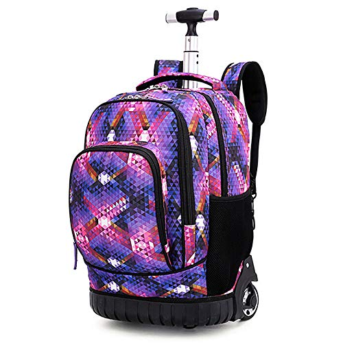 QCUTEP Rolling Backpack for School, Wheeled Backpack, Waterproof Trolley School Bags for Girls Boys Students Travel Mosaic ()