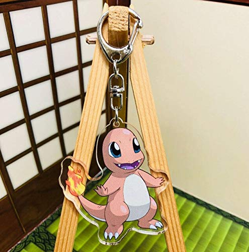 - 20/Lot Charizard Bulbasaur Snorlax Litten Mimikyu Rowlet Eevee Double Sided Acrylic Pendant Keychain for Kids -Multicolor Complete Series Merchandise