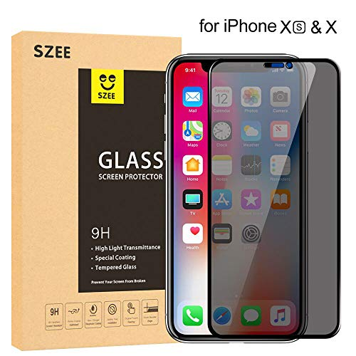 SZEE 3D Privacy Screen Protector for iPhone Xs/X, Anti Spy Anti Peep Full Coverage Tempered Glass Film (Premium/Bubble Free/Anti Scratch) (Eye Spy Original Bag)
