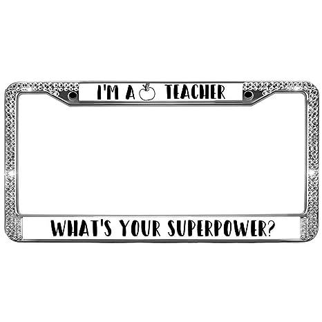 Amazon.com: GND License Plate Frame Women Bling I am A Teacher Bling ...
