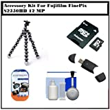 Professional Accessory Kit For Fujifilm FinePix S2550HD 12 MP Digital Camera Includes Gripster Flexible Tripod + 4GB Memory card + USB 2.0 High Speed Card Reader + Clear LCD Screen Protectors + Cleaning Kit