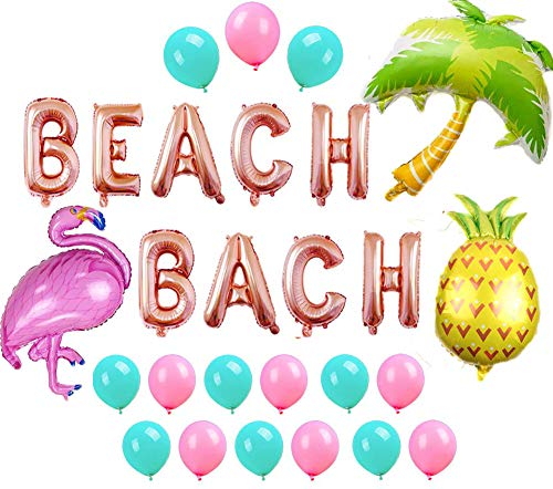 Beach Bach Balloons Banner Hawaii Luau Flamingo Pineapple Palm Tree Tropical Summer Party Decorations Beach Bachelorette Party Balloons (Palm Tree Banner)