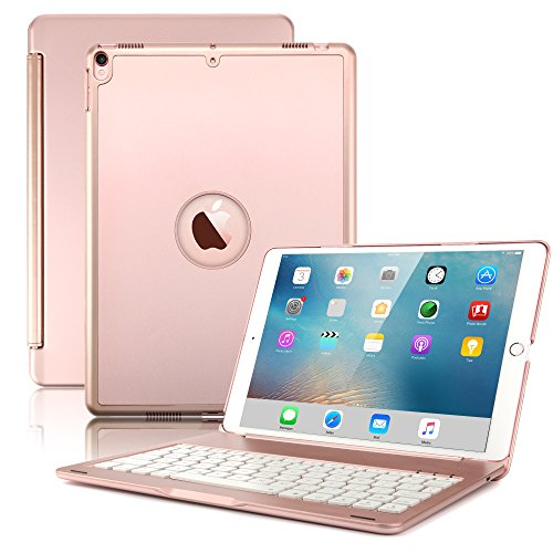 New iPad Pro 10.5 Keyboard Case,Boriyuan Protective Ultra Slim Hard Shell Folio Stand Smart Cover with 7 Colors Backlit Wireless Bluetooth Keyboard for Apple iPad Pro 10.5 inch 2017 Tablet (Rose Gold) (Apple Ipad Keyboard For With Case)