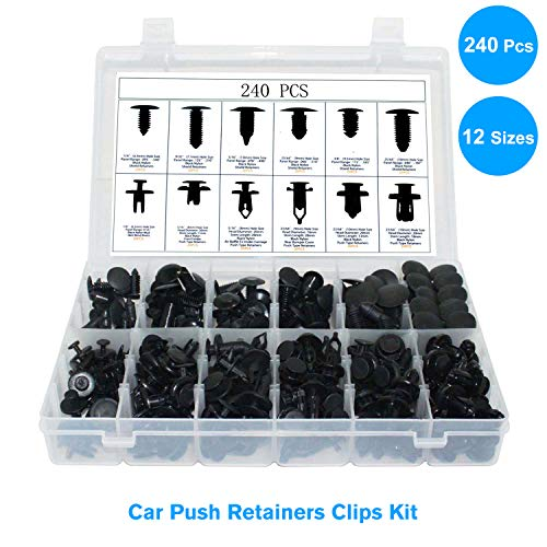 JeCar 240 Pcs Push Type Retainer Clips Bumper Retainer Clips Car Nylon Rivets Fasteners Expansion Screws Replacement for Toyota GM Ford Honda Acura Chrysler Lexus Dodge Jeep with Storage Case