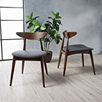 Issaic Charcoal Fabric Walnut Finish Dining Chairs (Set...