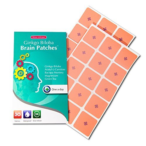 Ginkgo Biloba Brain Patches (30 Days Supply) - Contains (Ginkgo Biloba + Acetyle-l-carnitine + Bacopa Monnieri + Magnesium + Green Tea) - A Convenient Way to Boost Brain Functions, Focus, and Memory.