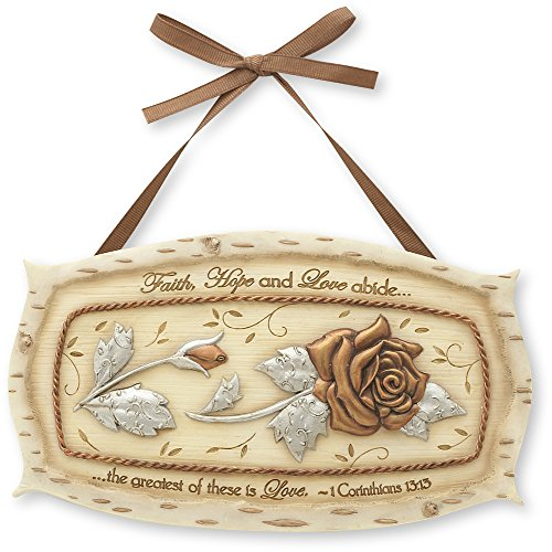 Beauty Angel Plaque (Elements Love Plaque by Pavilion, 7 by 4-Inch, Inscription Faith, Hope and Love Abide The Greatest of These is)