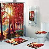 Bathroom 5 Piece Set shower curtain 3d print Customized,Tree,Autumnal Foggy Park Fall Nature Scenic Scenery Maple Trees Sunbeams Woods,Orange Yellow Teal,Bath Mat,Bathroom Carpet Rug,Non-Slip,Bath Tow