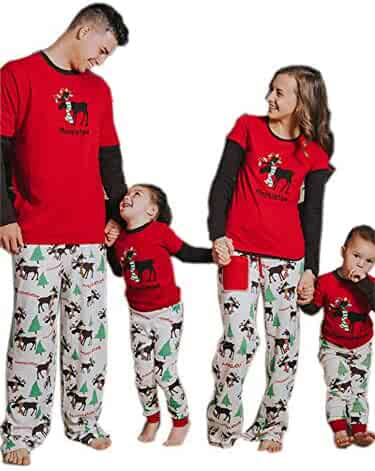 ETUDE dream Family Matching Christmas Pajamas Set - Cute Deer and Long Pants  Sleepwear for Whole 3833069c8