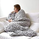 "Techcity Chunky Knit Blanket Bulky Soft Handmade Knitting Throw for Bedroom Sofa Home Decor Super Large Mat Rug Light Grey 40""x47"""
