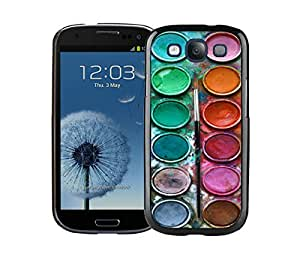 Element Samsung Galaxy S3 Black Case Durable Soft Silicone TPU Watercolor Sets With Brushes Art Phone Cover Accessories