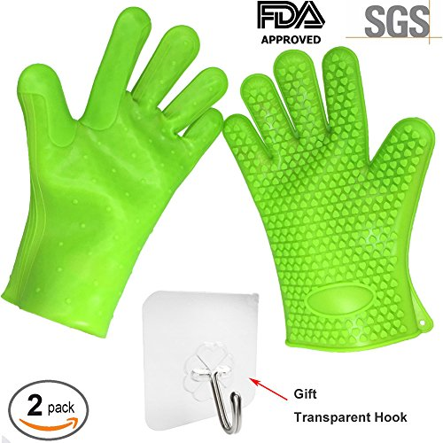 BBQ Gloves Heat Resistance Silicone Grill Oven Real Thick 2pcs Green