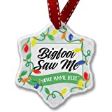 Personalized Name Christmas Ornament, Vintage Lettering Bigfoot Saw Me NEONBLOND