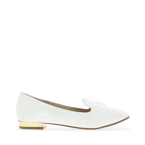 ChaussMoi Zapatos Blancos con Mocasines Retro de Estilo de 2cm de Talones - 36: Amazon.es: Zapatos y complementos