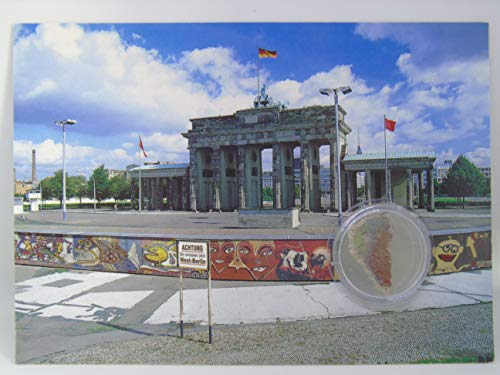 POSTCARD WITH SMALL AUTHENTIC PIECE OF THE BERLIN WALL'Wall around Brandenburg gate', Germany