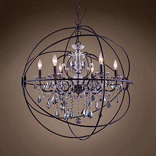 "Joshua Marshal 701507-009 - Foucault'S Orb Design 6 Lt 32"" Deep Iron Pendant With Smoke Crystal"
