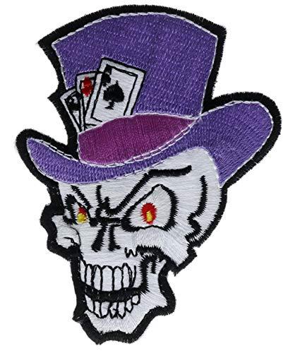 Evil Joker Poker Top Hat Skull Embroidered 3