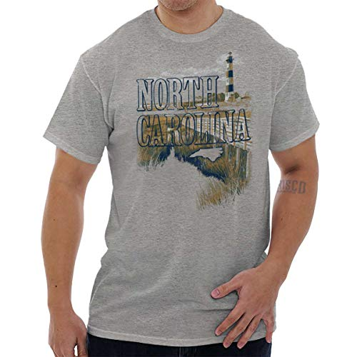 (North Carolina Lighthouse Cape Hatteras NC T Shirt Tee Sport Grey)