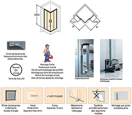 Mampara de ducha Classics 2 de acceso de ángulo: 2 puertas correderas: vidrio transparente 4 – 6 mm, perfil plata: Amazon.es: Bricolaje y herramientas