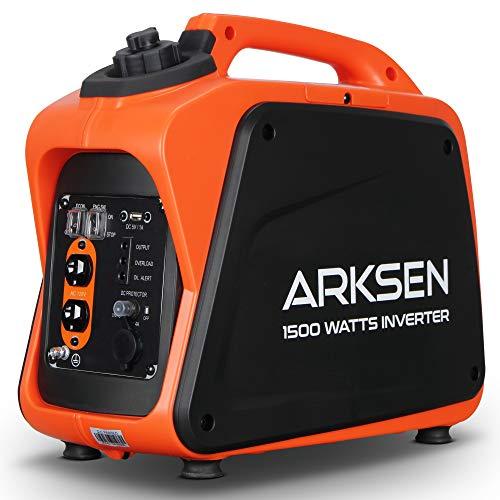 Arksen 1500W Super Quiet Portable Gas-Powered Inverter Generator With 120V AC Outlet, 5V USB Port, 12V CAR DC outlet CARB EPA Compliant Arksen