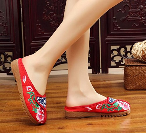WXT Peony zapatos bordados, lenguado de tendón, estilo étnico, flip flop femenino, moda, cómodo, sandalias Red