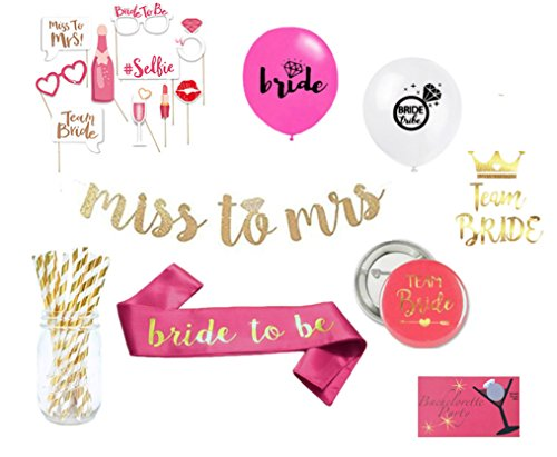 Decorata's 82 Piece Bachelorette Kit With Favors and Decorations Includes: Bachelorette Photo Props, Miss To Mrs Banner, Pink Bride to Be Sash, Tattoo, Scratch Dare Cards, Badges, Straws, - Take How To Scratches Off