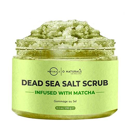 O Naturals Anti-Cellulite Exfoliating Organic Caffeine Matcha Dead Sea Salt Scrub For Face Body & Foot Best Acne Eczema Stretch Marks Wrinkles Varicose Veins Boosts Circulation For Women & Men 8.45oz