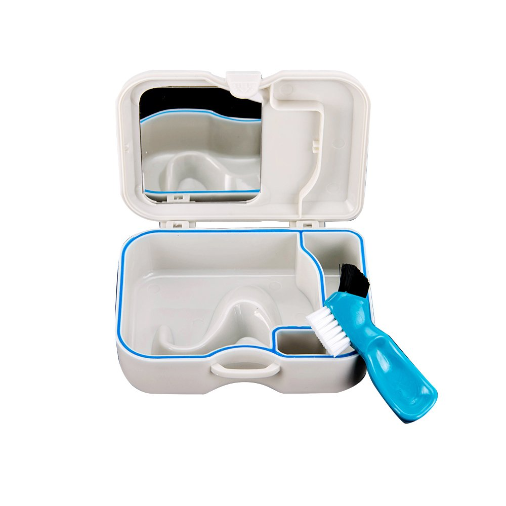 Portable Plastic Groove Denture Case With Built In Mirror And Brush Teeth Storage Case Container Box Mishiner