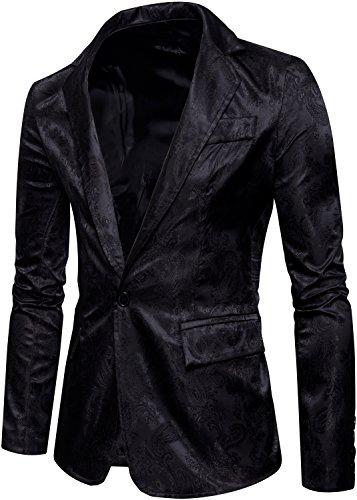 [해외]헝 아오 맨 즈 원 버튼 플로 럴 슬림 핏 라 세르 블 레이저 재킷 / HENGAO Men`s One Button Floral Slim Fit Laper Blazer Jacket