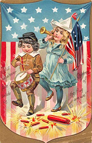 4th of July Greetings Children and Firecrackers Patriotic Tuck Postcard JA454790