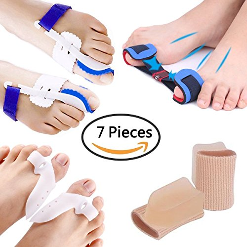 PAAZA Bunion Corrector, Bunion Relief Kit - Cure Pain In big toe joint, tailors bunion, Hallux Valgus, Hammer Toe, Toe Separators Spacers Straighteners Splint Aid Surgery Treatment (7 Pieces) by PAAZA