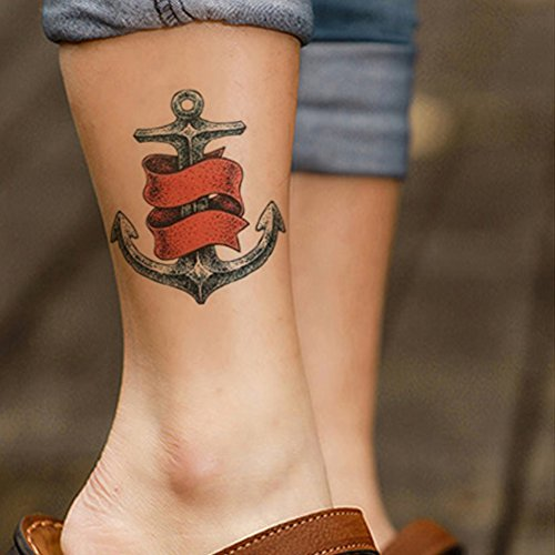 TAFLY Anchor Pattern Temporary Tattoo Body Arm Sleeve Leg Tattoos Men Fake Tattoo Waterproof Tattoo 2 (Anchor Tattoos Women)