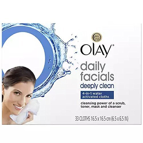 Olay Daily Deeply Clean 4-in-1 Water Activated Cleansing Face Cloths 33ct (Pack of (Olay Daily Cleanser)