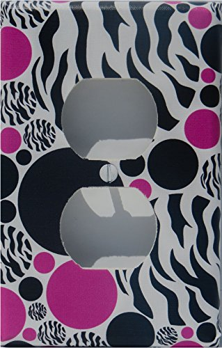 Zebra Print Dot Outlet Switch Plate Cover / Childrens Animal Print Wall Decor with Zebra Print, Hot Pink and Black Dots by Presto Wall Decals (Image #1)