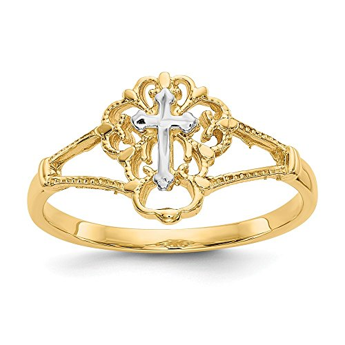 Mia Diamonds 14k Gold Two-Tone Gold Diamond-Cut Cross Ring (Two Tone Gold Cross Ring)