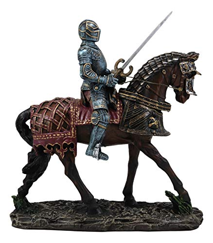 (Ebros Gift Large Medieval Royal Suit of Armor European Knight with Long Sword Riding On Heavy Cavalry Horse Statue 12.75