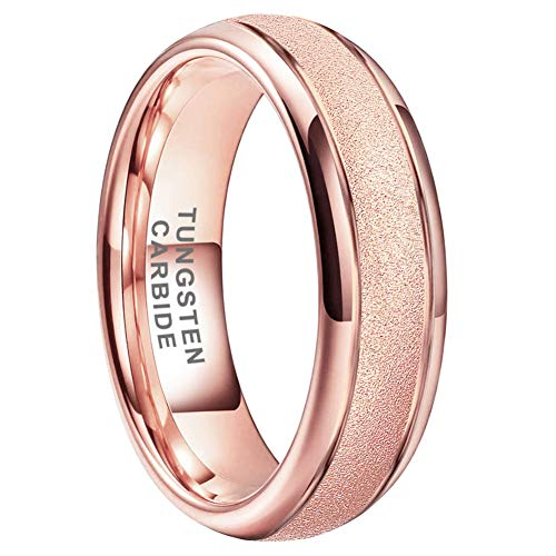 BestTungsten 6mm 8mm 18K Gold / Rose Gold Anillos de carburo de tungsteno para hombres Mujeres Alianzas de boda de compromiso Acabado con chorro de arena abovedado Ajuste cómodo